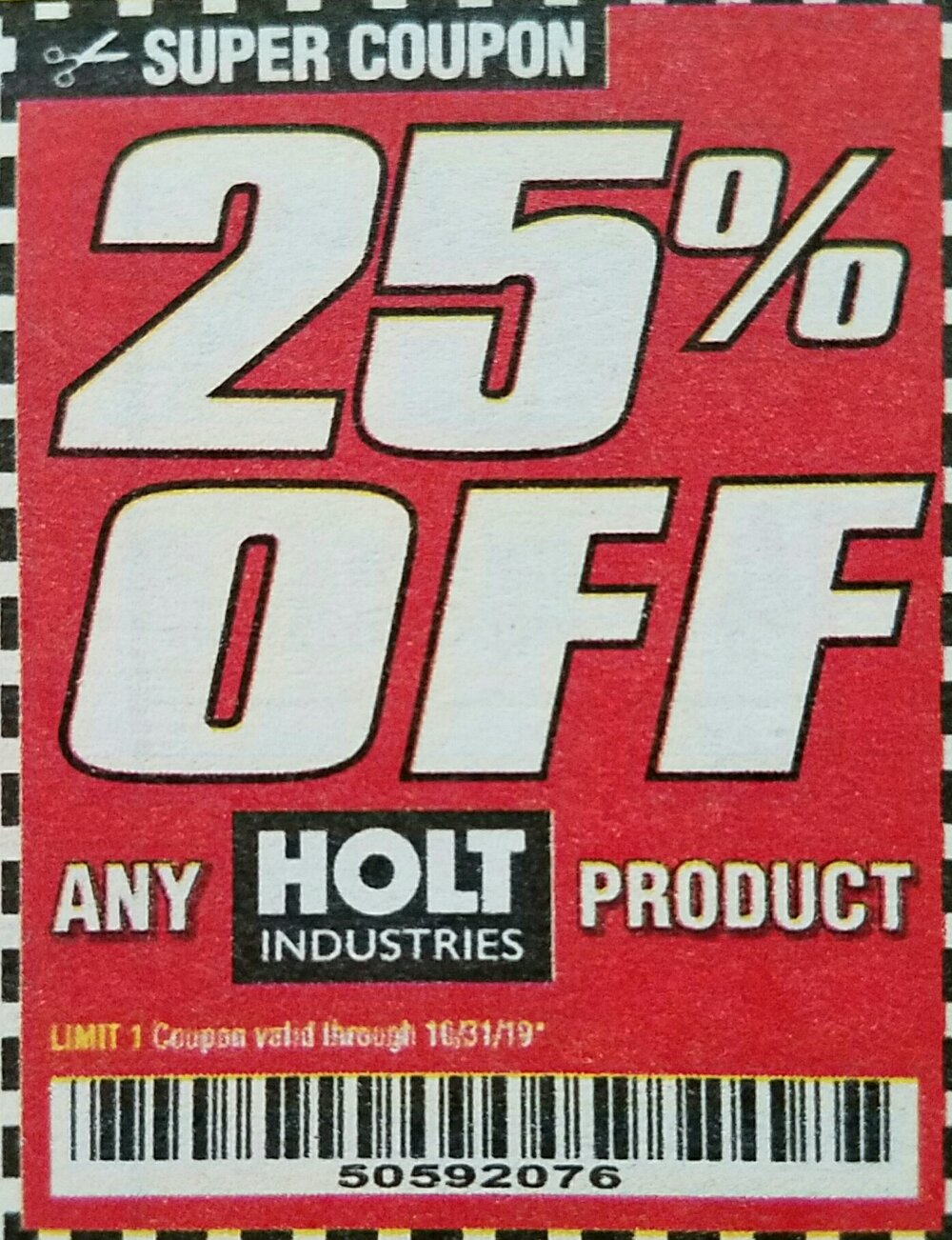 Harbor Freight Coupon, HF Coupons - 25% off any HOLT INDUSTRIES product