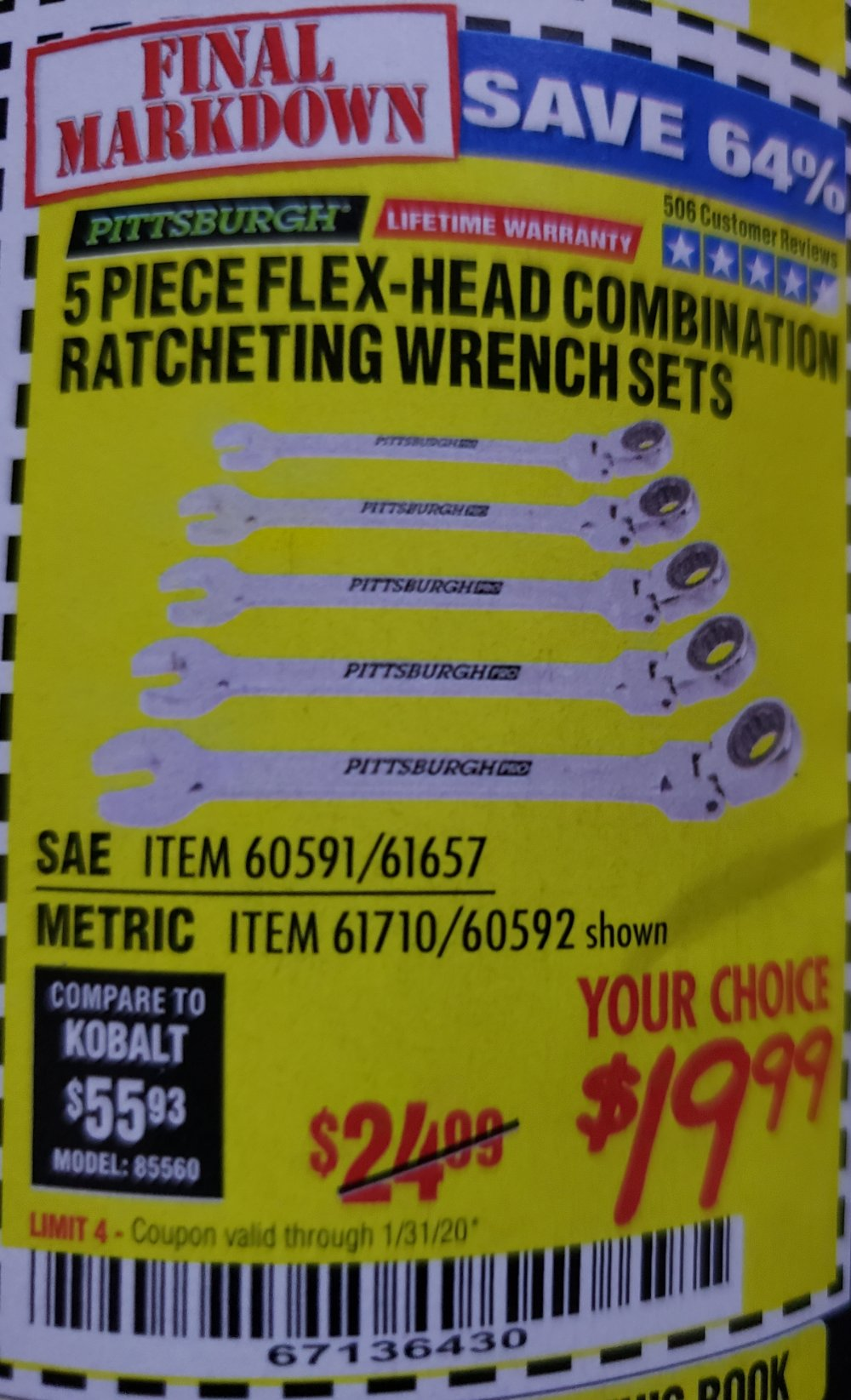 Harbor Freight Coupon, HF Coupons - 5 Piece Flex-head Combo Wrench Sets