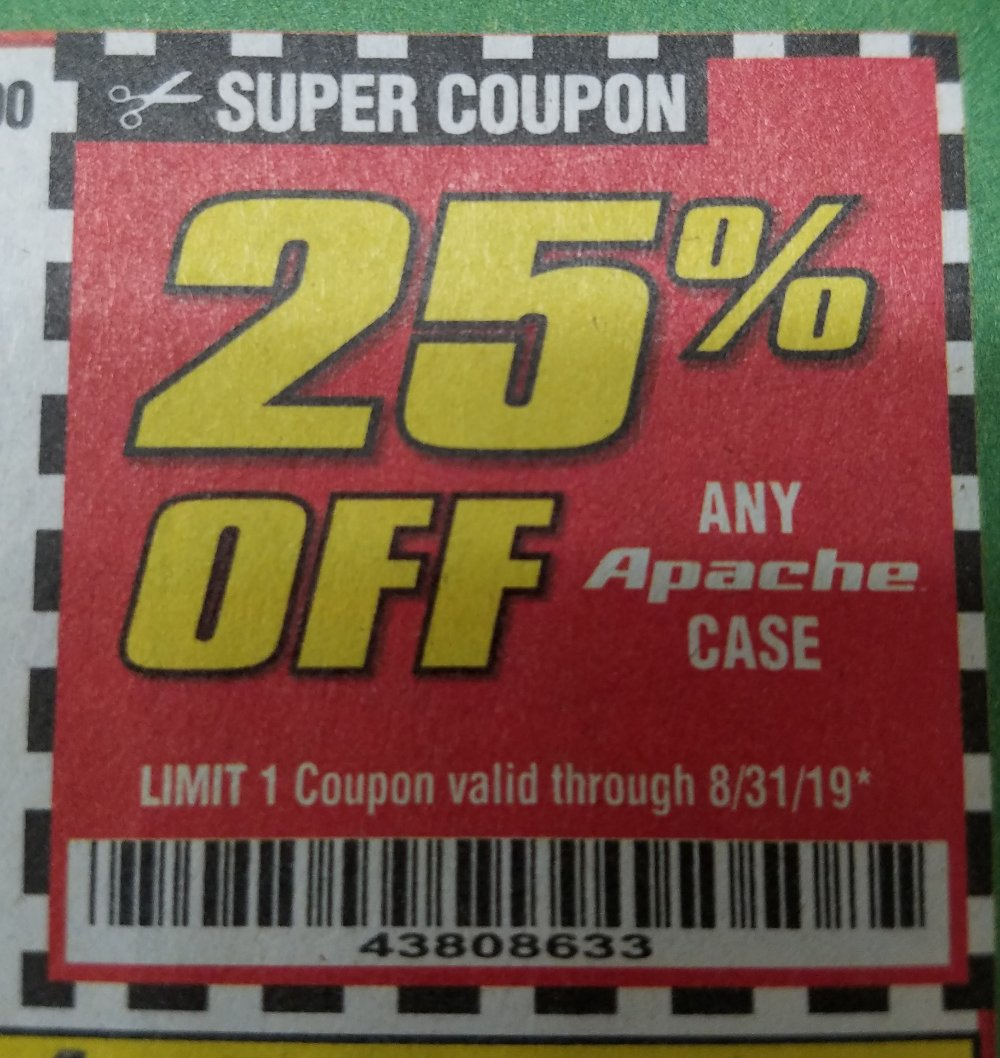 Harbor Freight Coupon, HF Coupons - 25% off Apache case