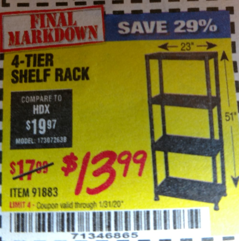 Harbor Freight Coupon, HF Coupons - 4-tier Shelf Rack