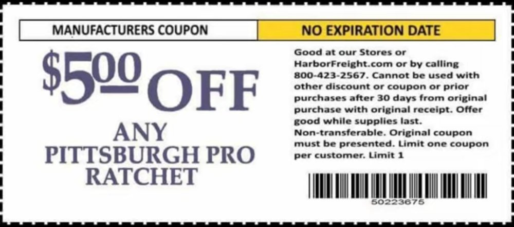 Harbor Freight Coupon, HF Coupons - $5 Any Pittsburgh Pro ratchet