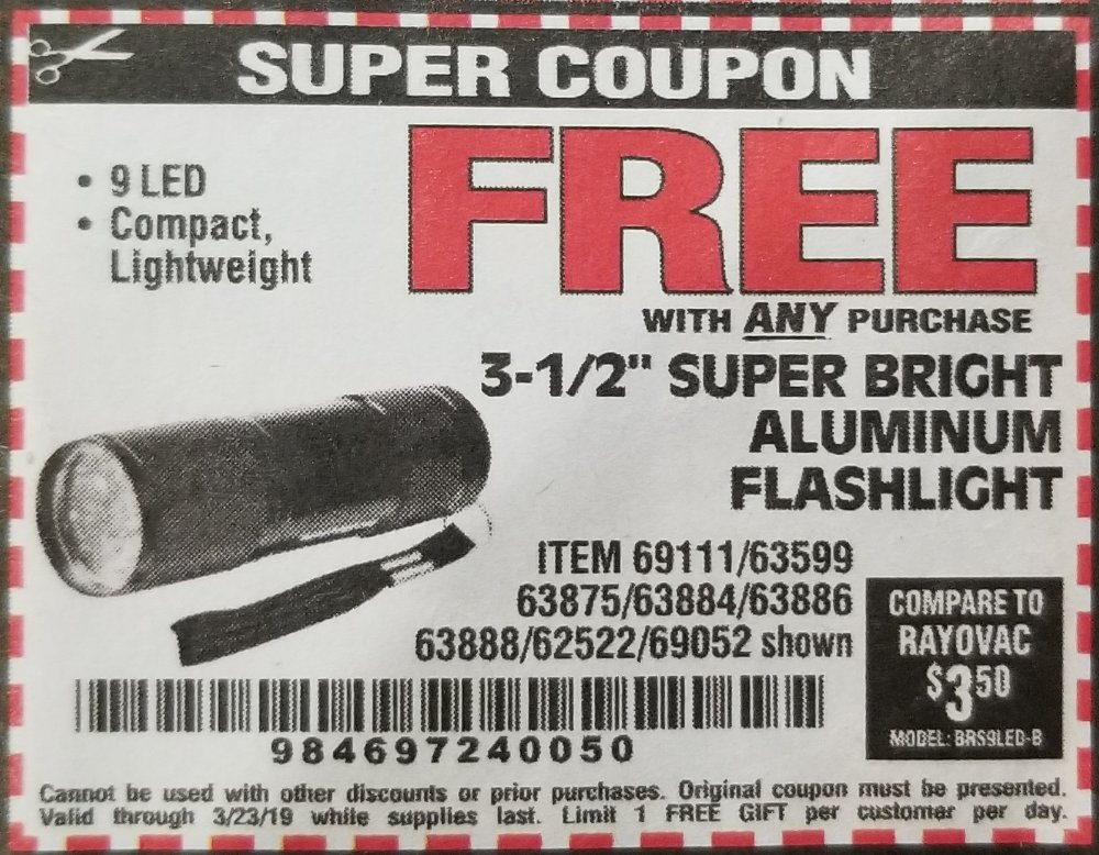 Harbor Freight Coupon, HF Coupons - FREE - 3-1/2
