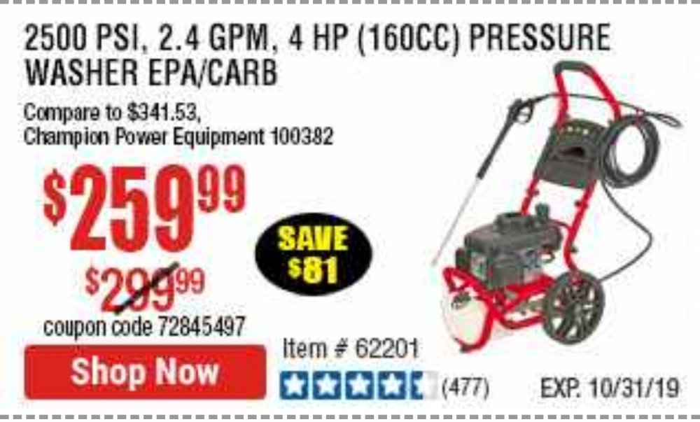 Harbor Freight Coupon, HF Coupons - 2500 Psi, 2.4 Gpm 4 Hp (160 Cc) Pressure Washer