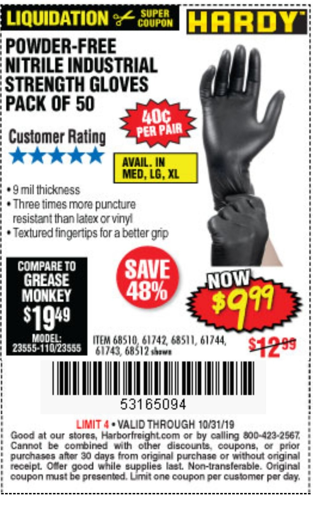 Harbor Freight Coupon, HF Coupons - 9 Mil Nitrile Powder-free Gloves 50 Pc.