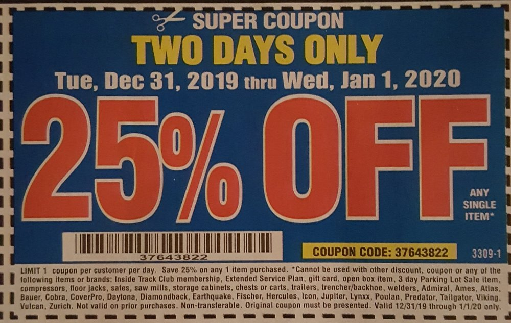 Harbor Freight Coupon, HF Coupons - 2 day 25%off 12/31-01/01