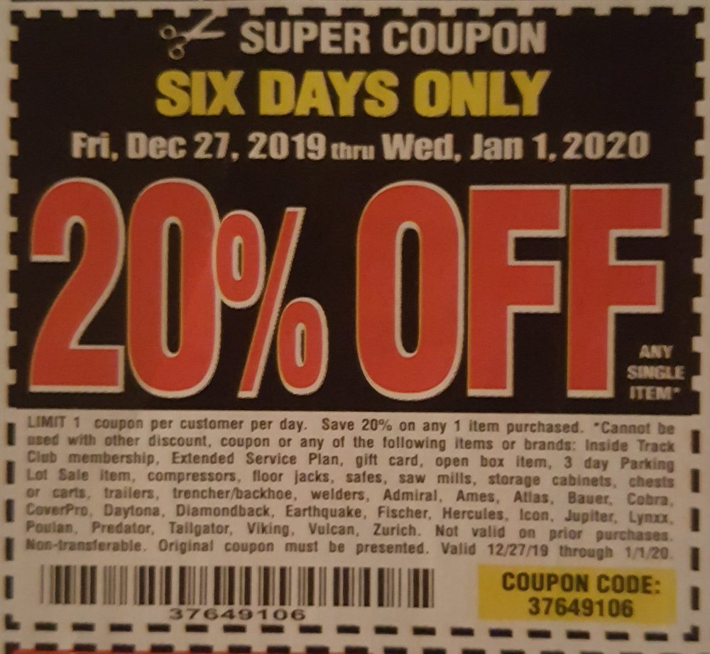 Harbor Freight Coupon, HF Coupons - 6 days only 20%off 12/27-01/01