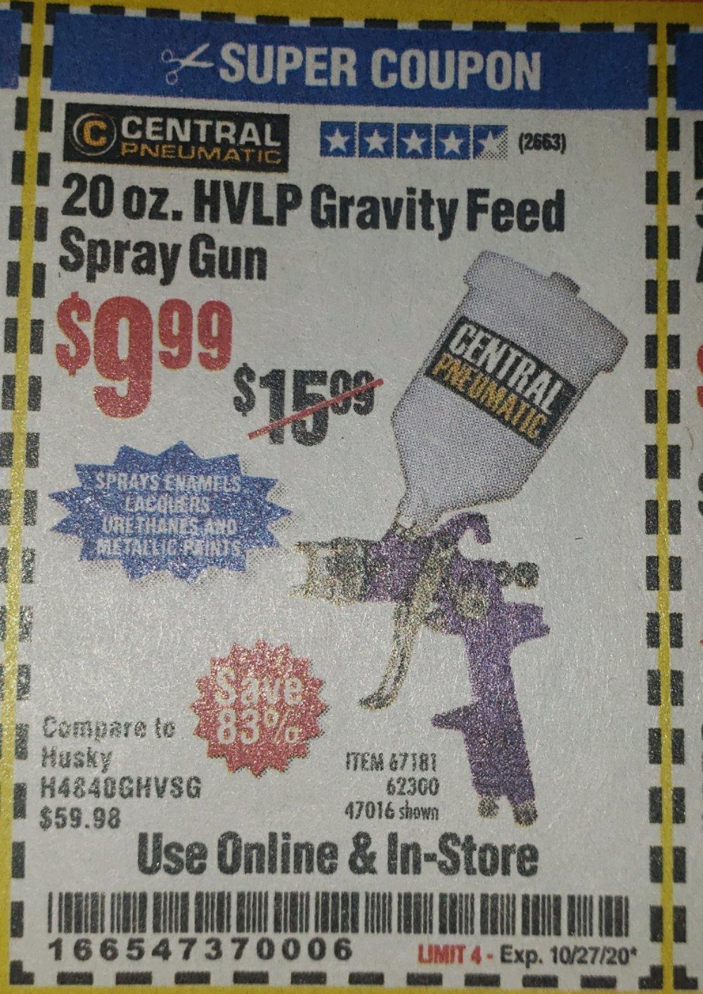 Harbor Freight Coupon, HF Coupons - 20 Oz. Gravity Feed Spray Gun