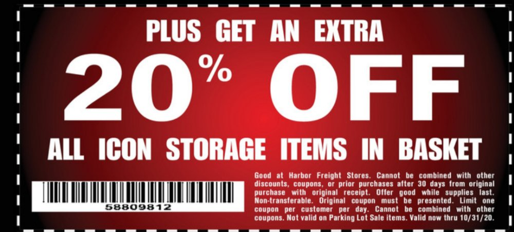 Harbor Freight Coupon, HF Coupons - PLUS GET AN EXTRA 20% OFF ALL ICON STORAGE ITEMS IN BASKET