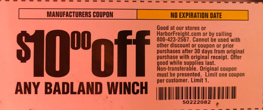 Harbor Freight Coupon, HF Coupons - 10.00 OF ANY BADLAND WINCH