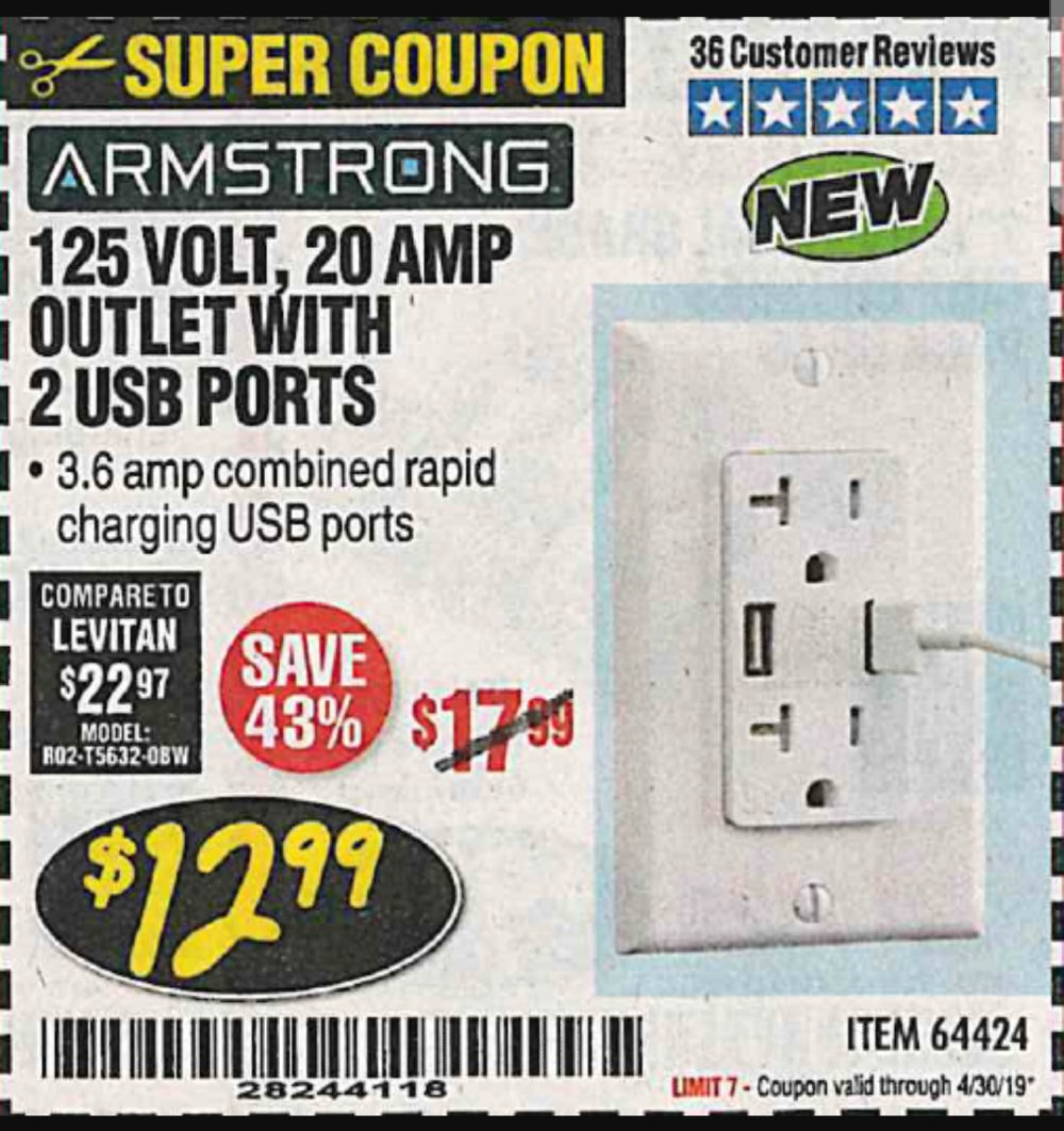 Harbor Freight Coupon, HF Coupons - 125V, 20 AMP OUTLET WITH 2 USB PORTS