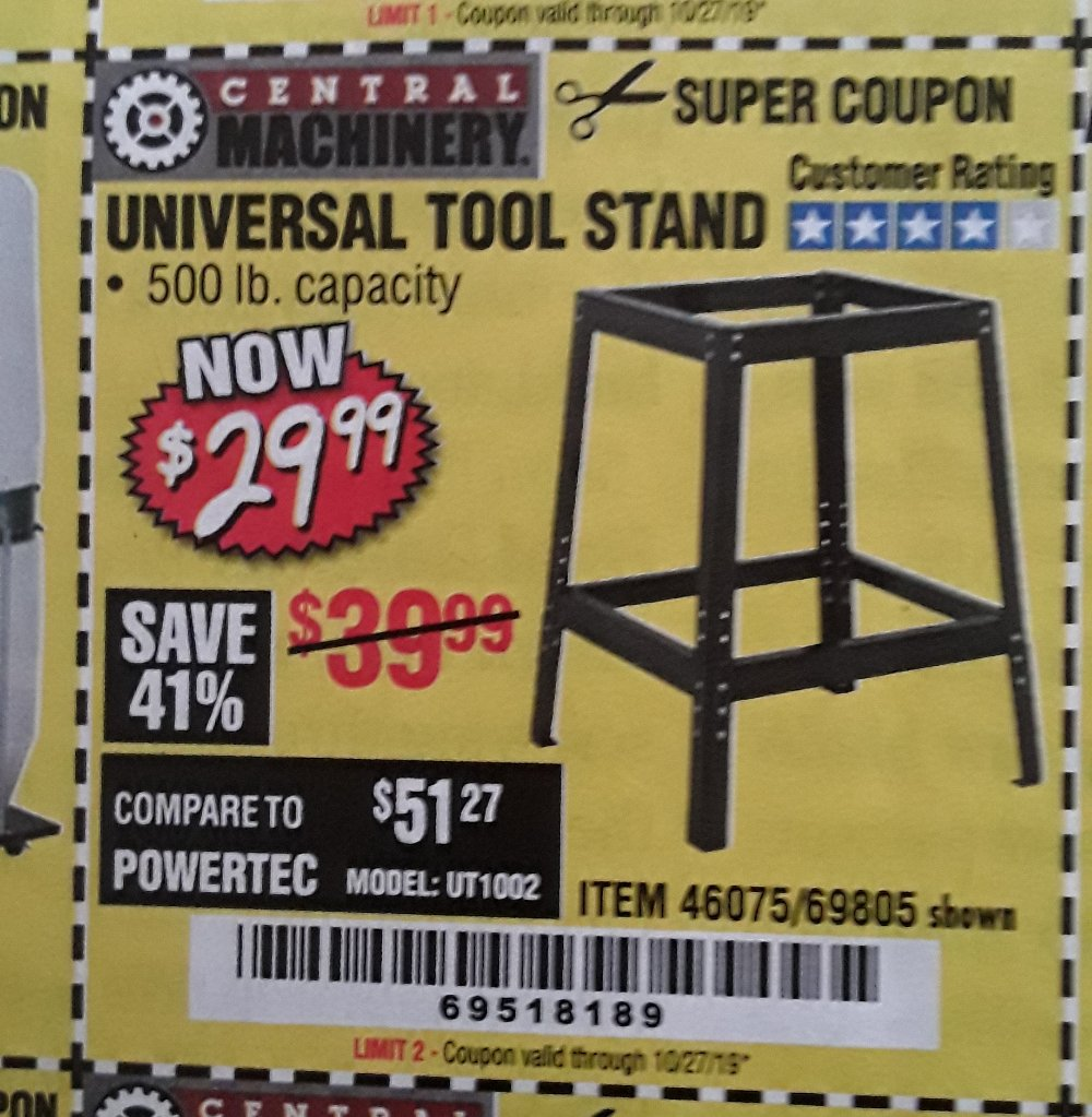 Harbor Freight Coupon, HF Coupons - Universal Tool Stand