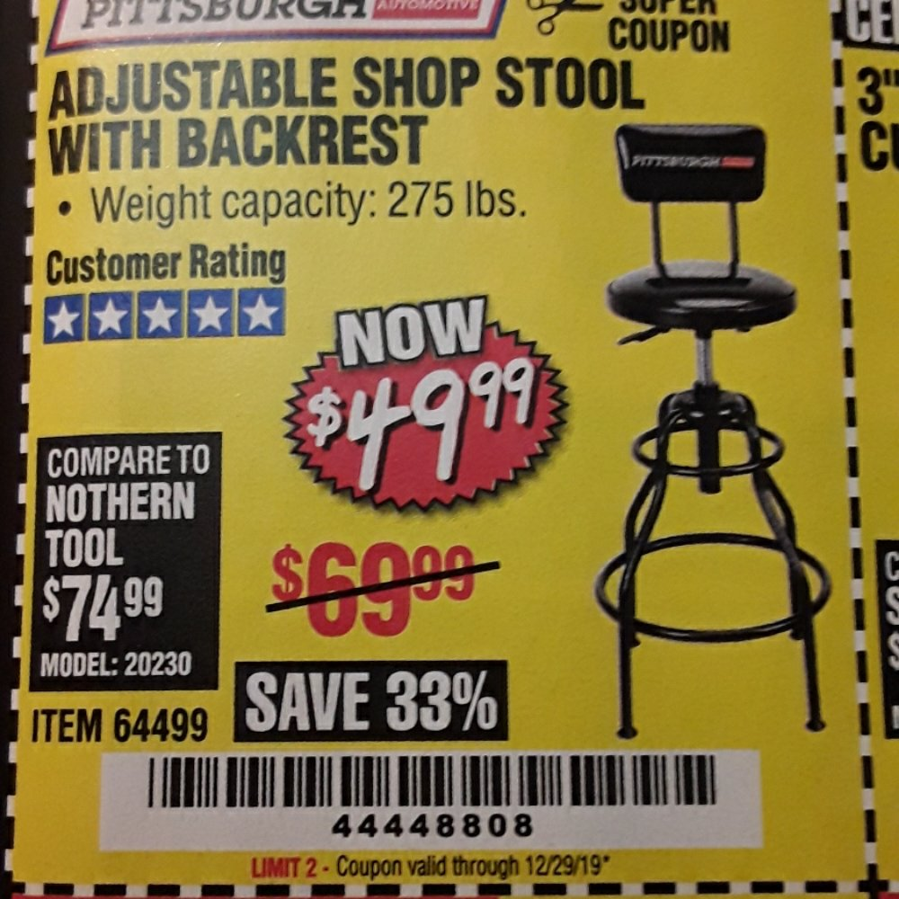 Harbor Freight Coupon, HF Coupons - Adjustable Shop Stool With Backrest
