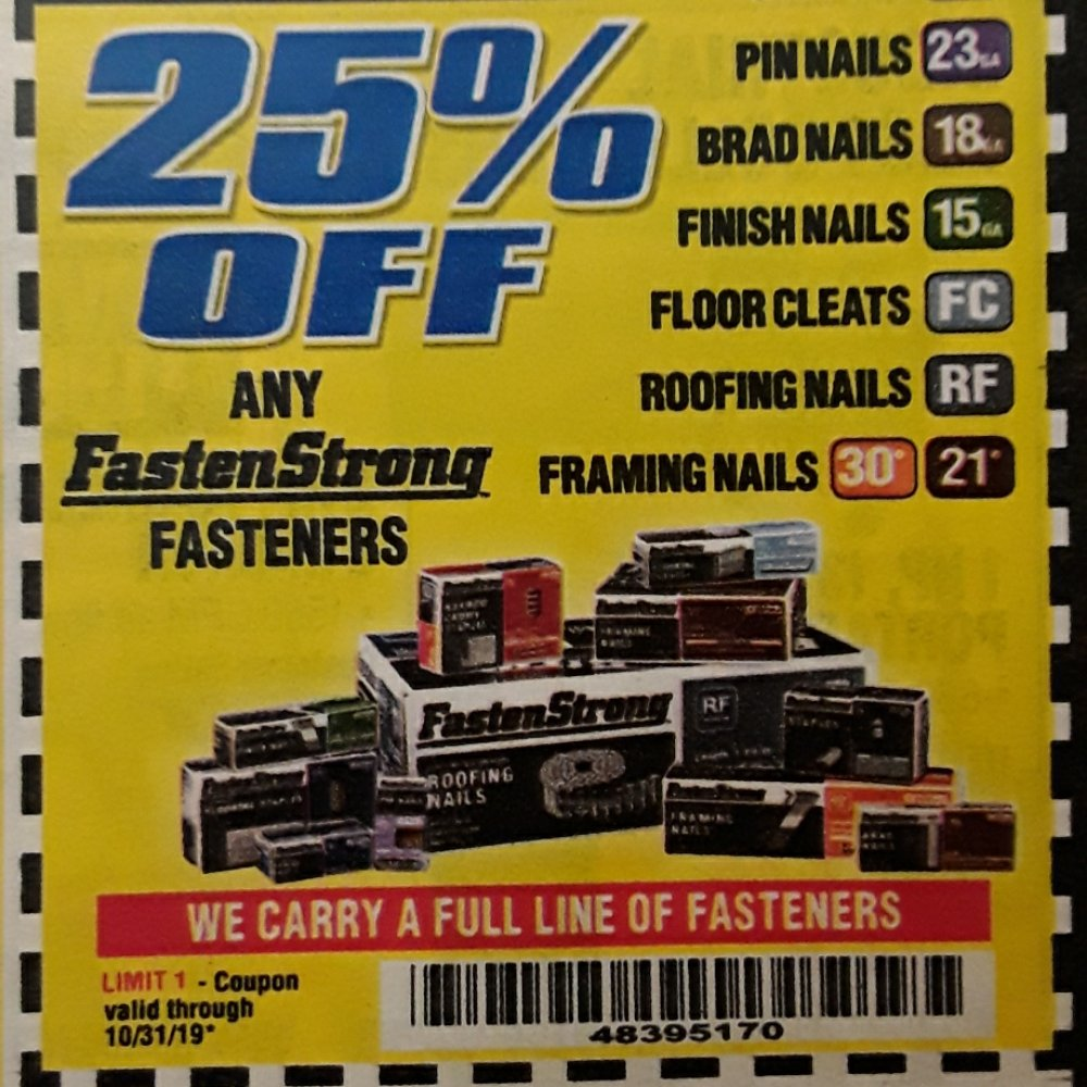 Harbor Freight Coupon, HF Coupons - 25% off FastenStrong