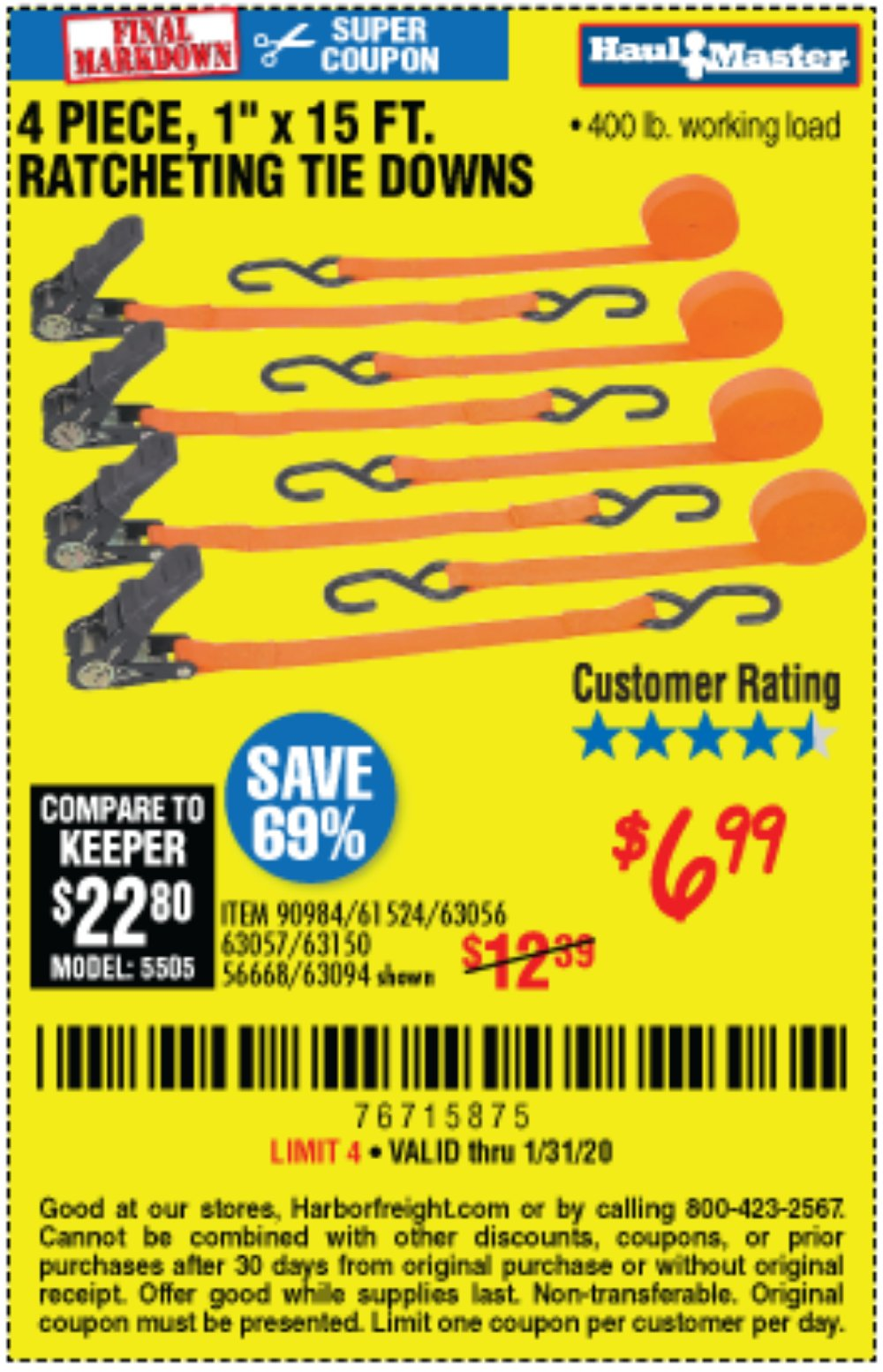 Harbor Freight Coupon, HF Coupons - 4 Piece, 1