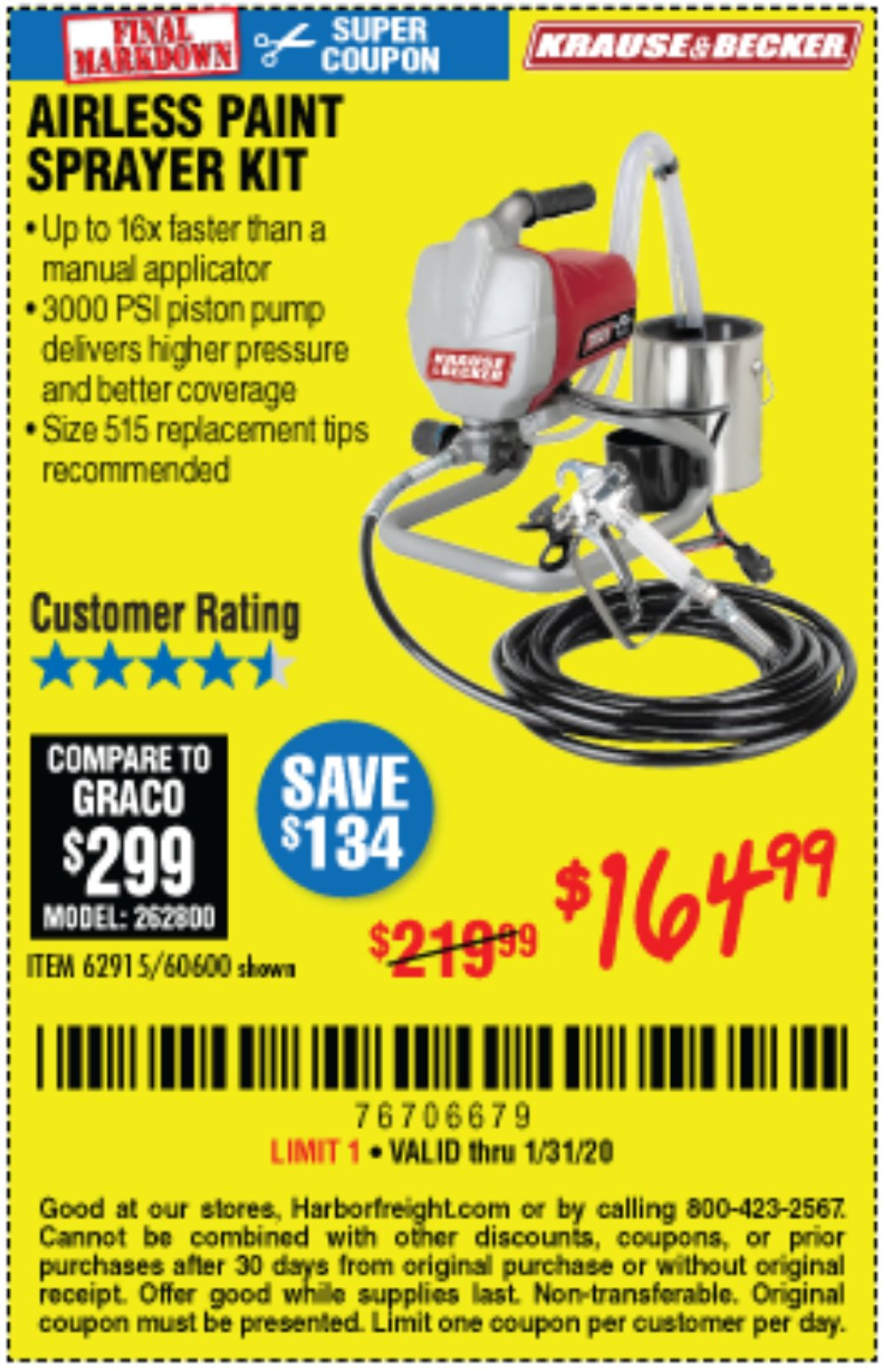 Harbor Freight Coupon, HF Coupons - Airless Paint Sprayer Kit