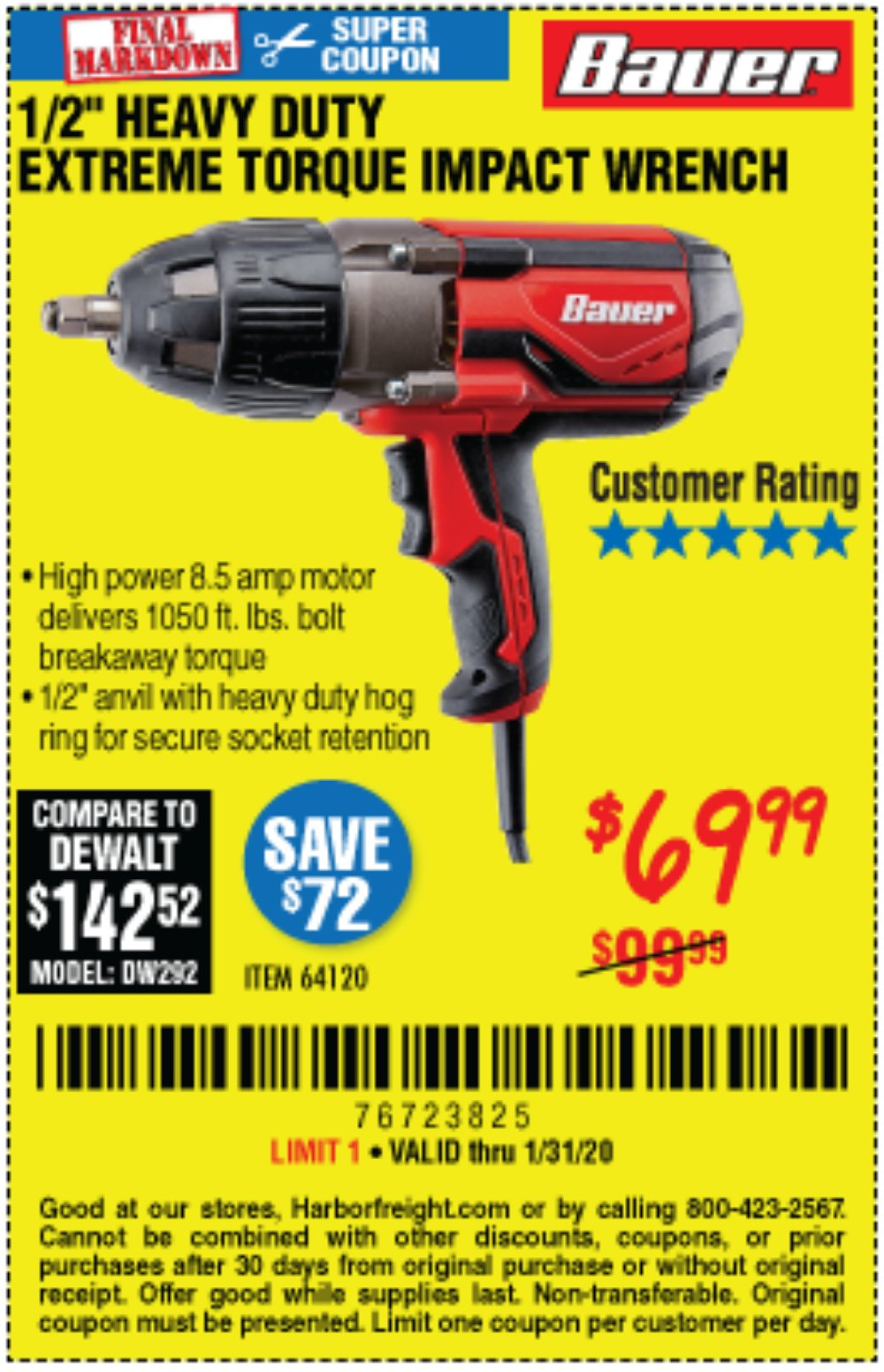Harbor Freight Coupon, HF Coupons - Bauer 1/2