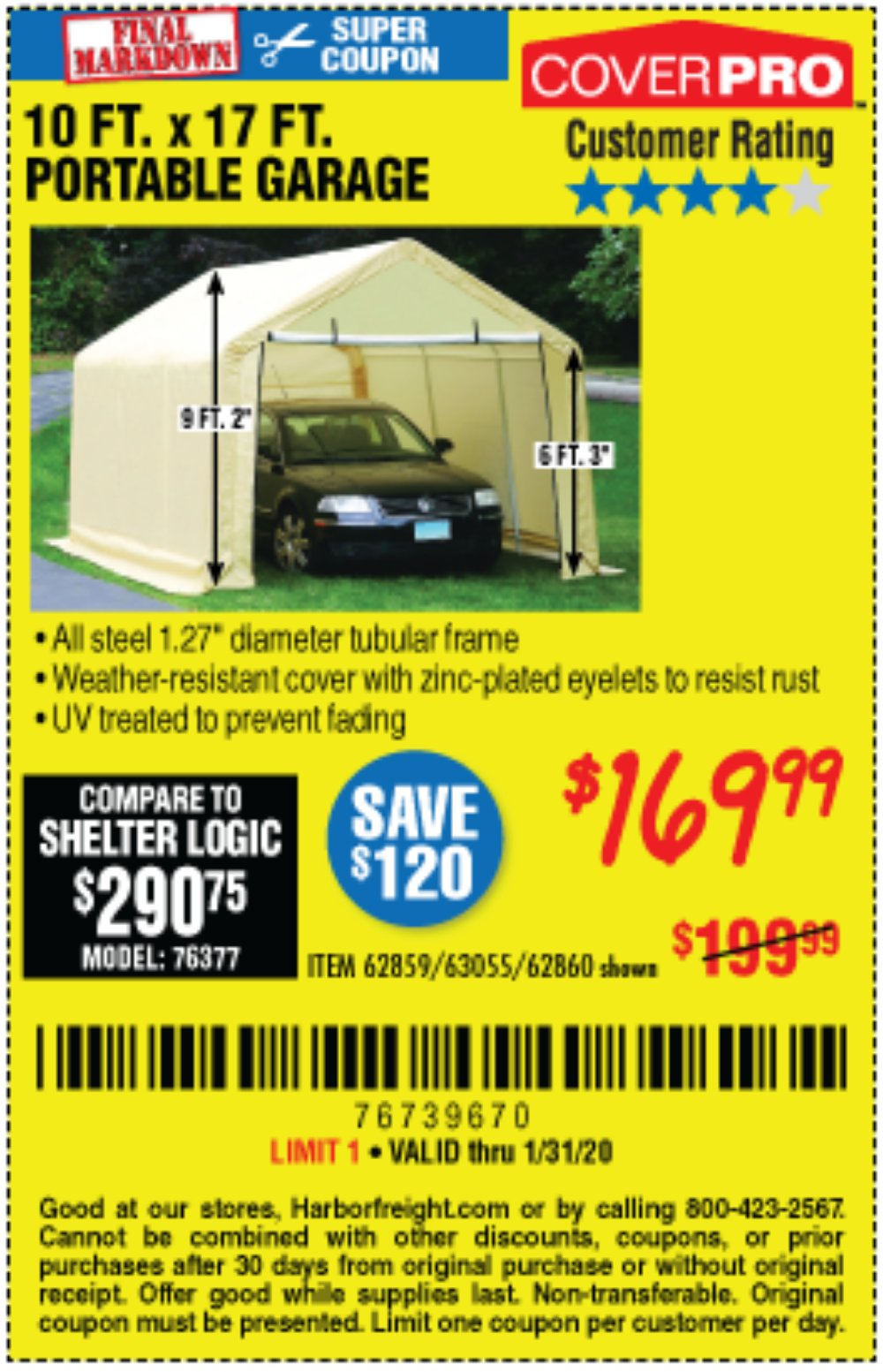Harbor Freight Coupon, HF Coupons - 10 Ft. X 17ft. Portable Garage