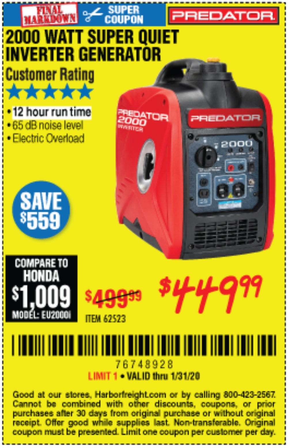 Harbor Freight Coupon, HF Coupons - 2000 Peak / 1600 Running Watts 2.8 Hp (79.7 Cc) Portable Inverter Generator