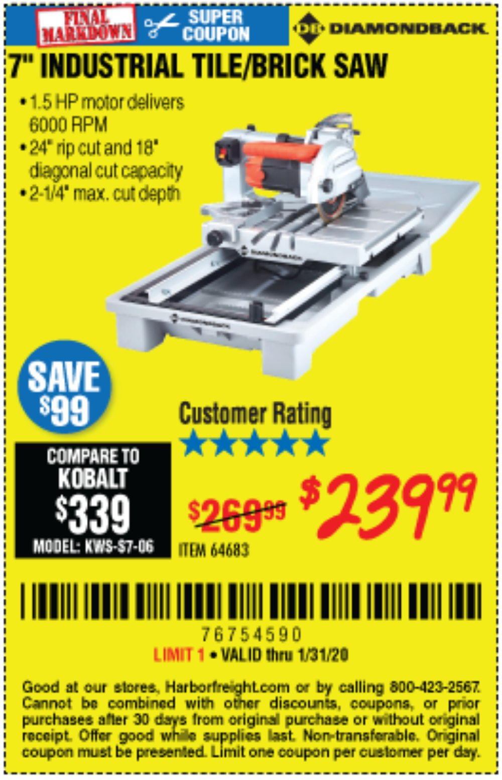 Harbor Freight Coupon, HF Coupons - 1.5 Hp, 7