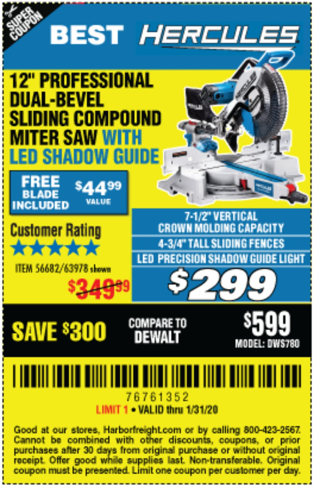 Harbor Freight Coupon, HF Coupons - Hercules Professional 12