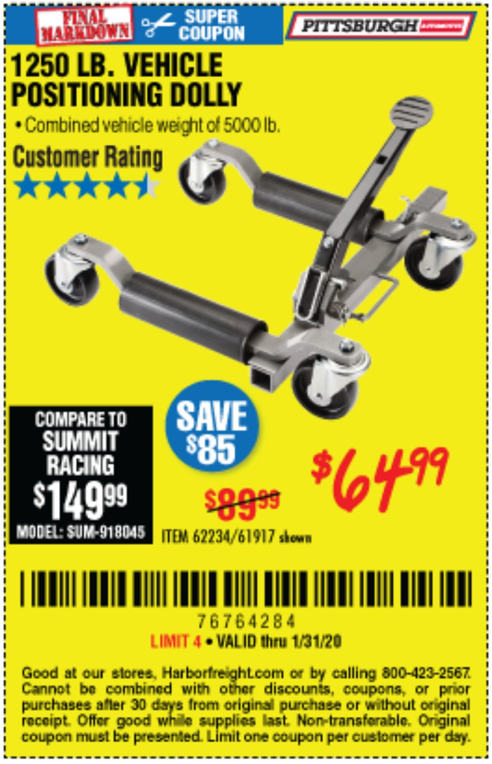 Harbor Freight Coupon, HF Coupons - 1250 Lb. Vehicle Positioning Dolly