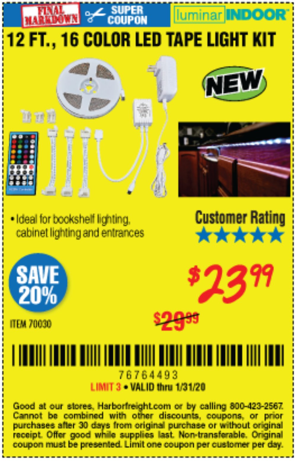 Harbor Freight Coupon, HF Coupons - 12 Ft., 16 Color Led Tape Light