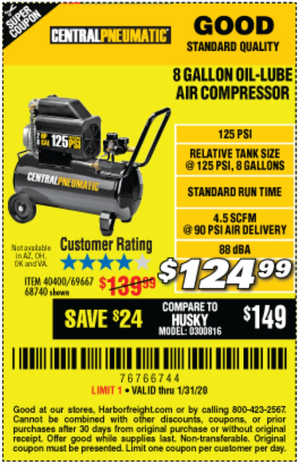 Harbor Freight Coupon, HF Coupons - 2 Hp, 8 Gallon 125 Psi Portable Air Compressor
