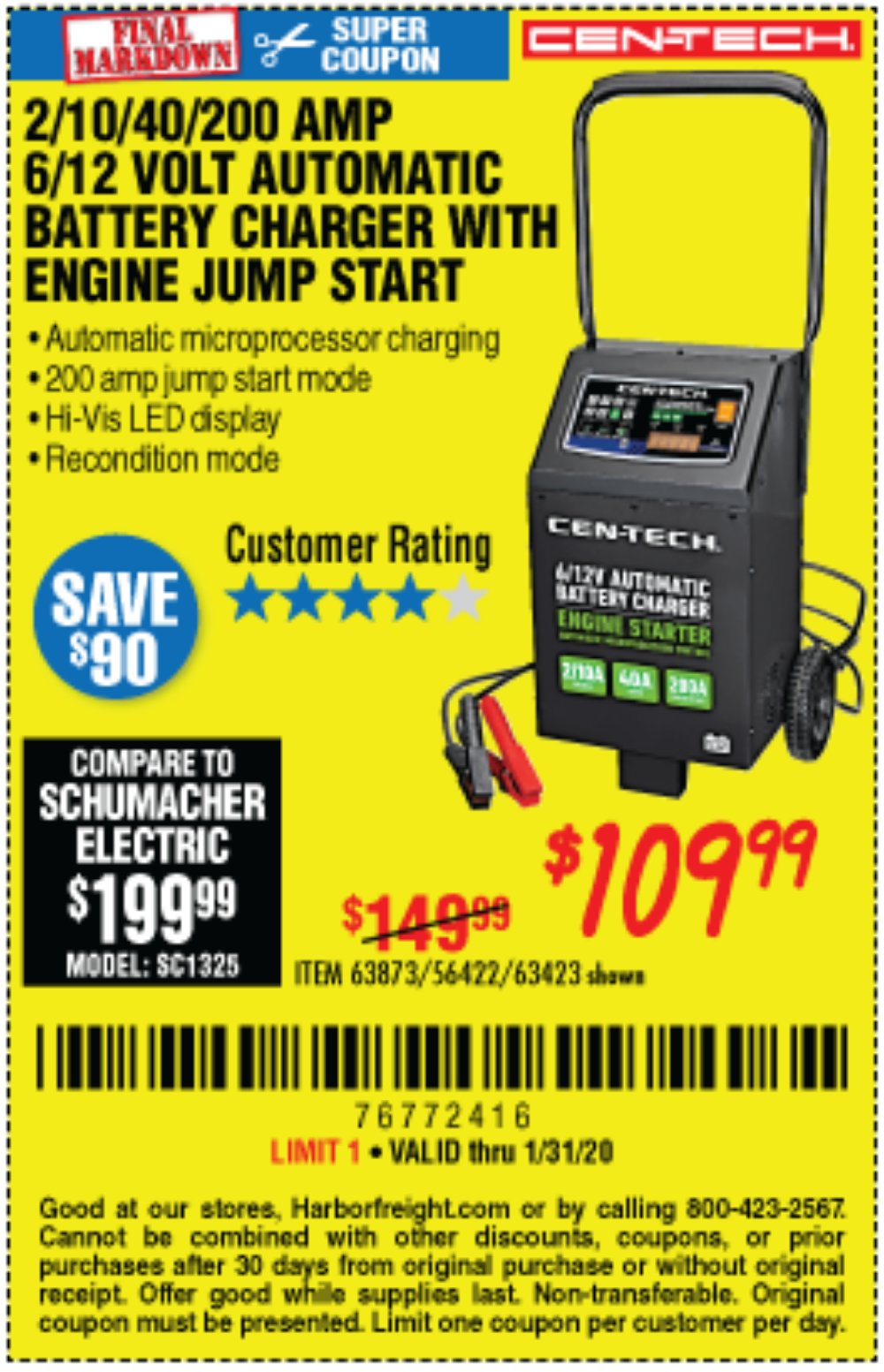 Harbor Freight Coupon, HF Coupons - Cen-tech 2/10/40/200 Amp 6/12 Volt Automatic Battery Charger With Engine Jump Start