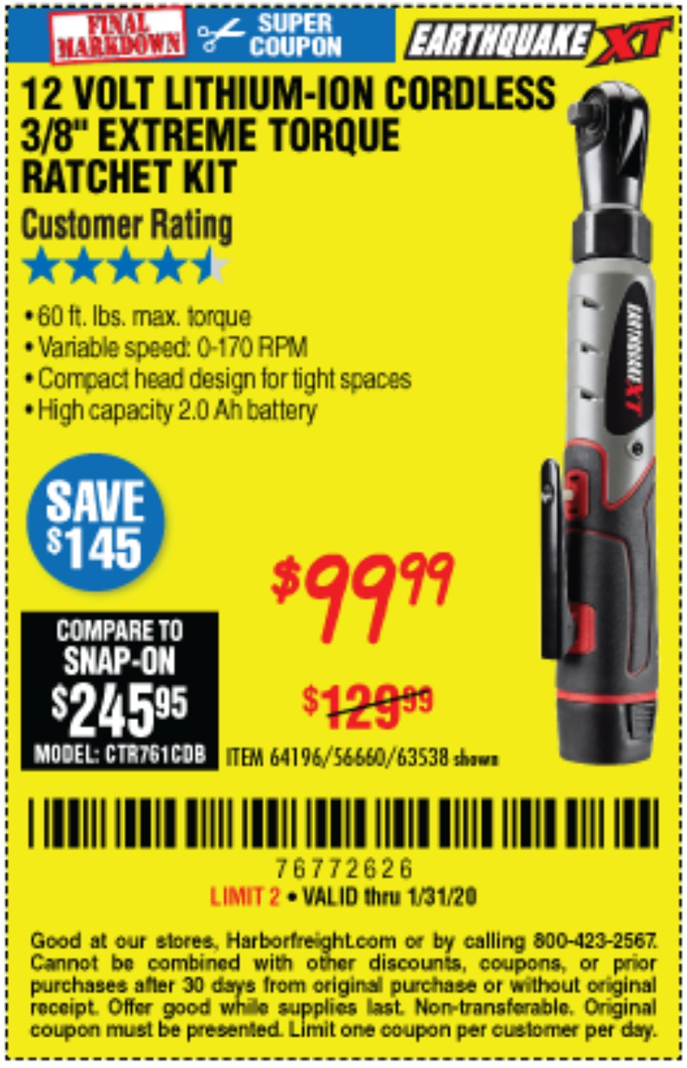 Harbor Freight Coupon, HF Coupons - Earthquake Xt 12 Volt, 3/8