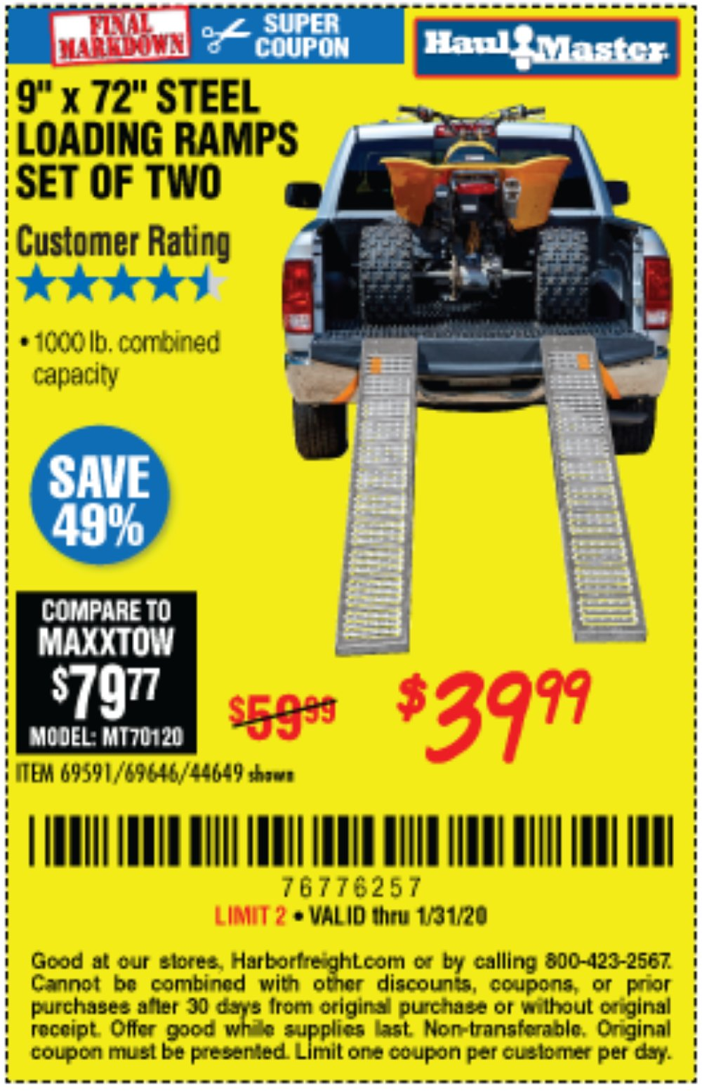 Harbor Freight Coupon, HF Coupons - 1000 Lb. Steel Loading Ramps, Set Of Two