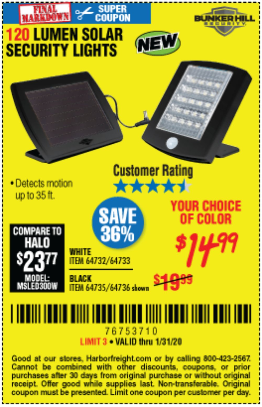Harbor Freight Coupon, HF Coupons - 120 Lumen Solar Motion Security Lights