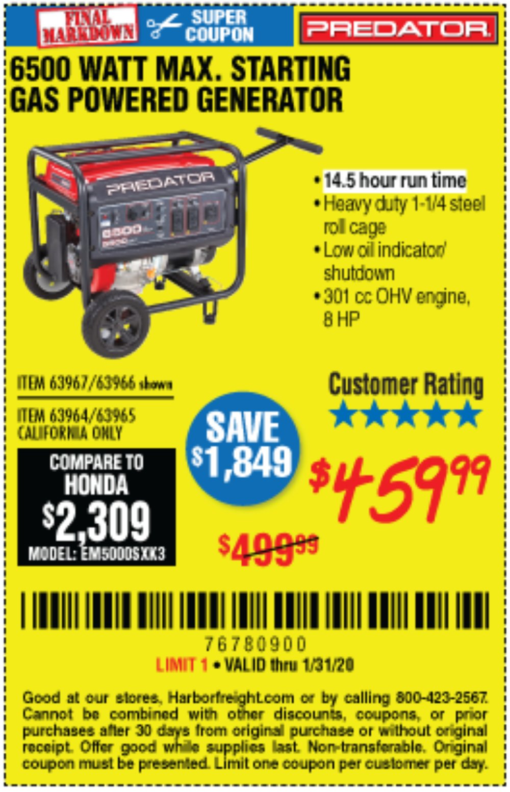 Harbor Freight Coupon, HF Coupons - 6500 Max. Starting/5500 Running Watts 8 Hp (301 Cc) Gas Generator