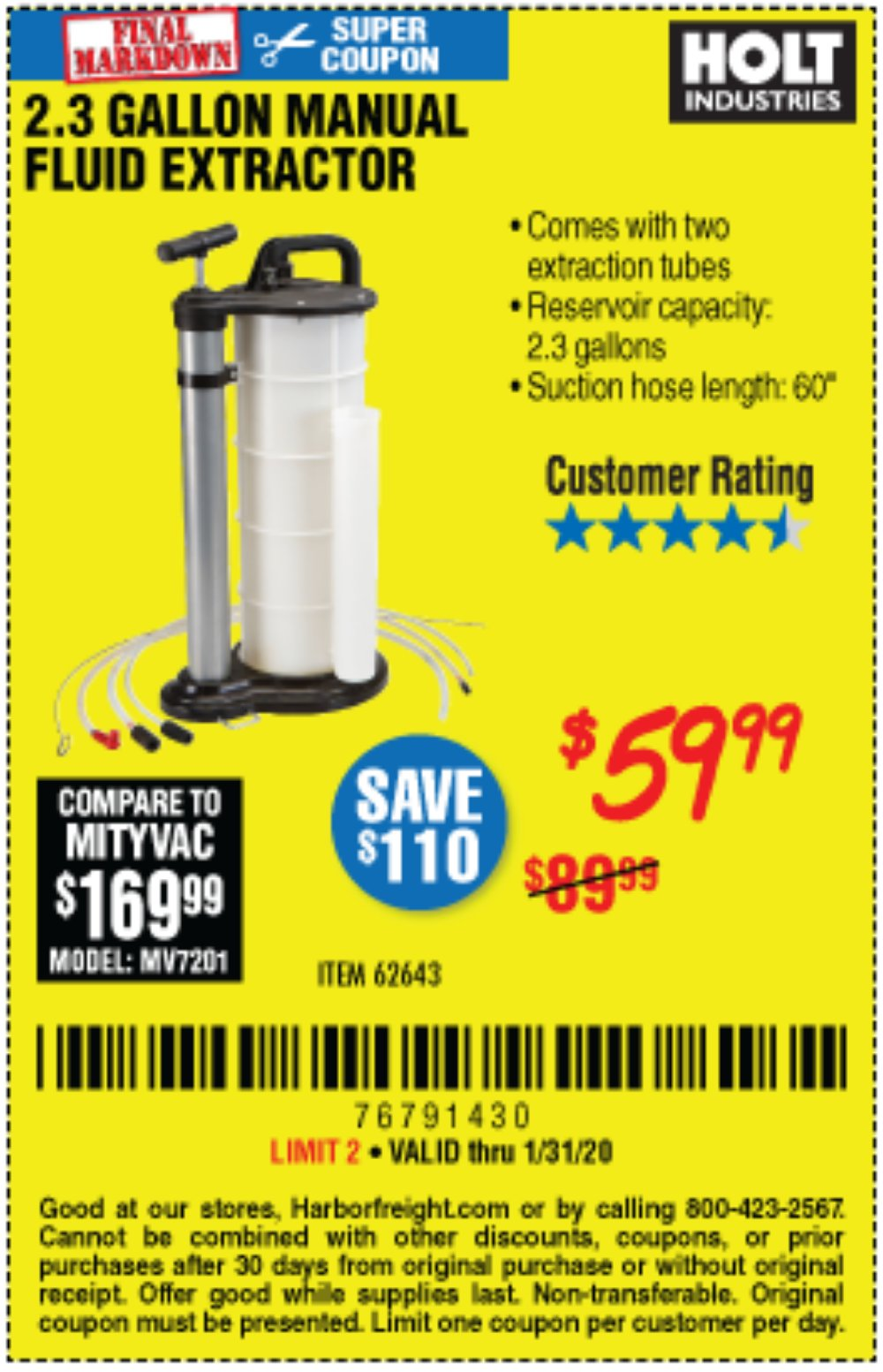 Harbor Freight Coupon, HF Coupons - 2.3 Gal. Manual Fluid Extractor