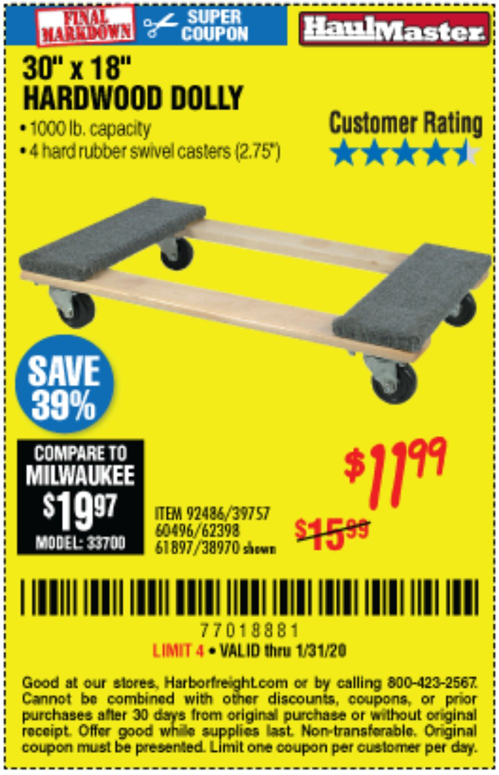 Harbor Freight Coupon, HF Coupons - 1000 Lb. Capacity Mover's Dolly