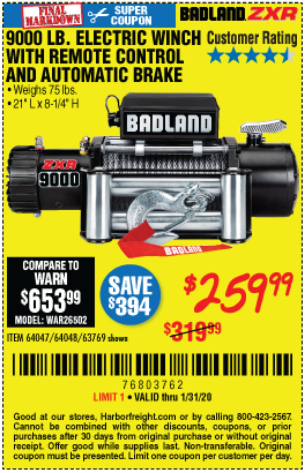 Harbor Freight Coupon, HF Coupons - Badland Zxr9000 9000 Lb Winch