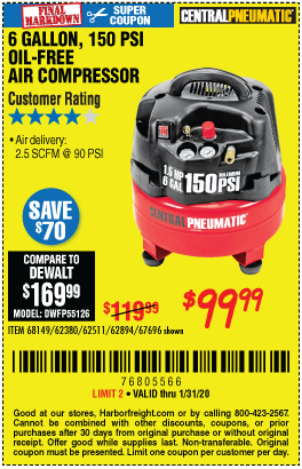 Harbor Freight Coupon, HF Coupons - 1.5 Hp, 6 Gallon, 150 Psi Professional Air Compressor