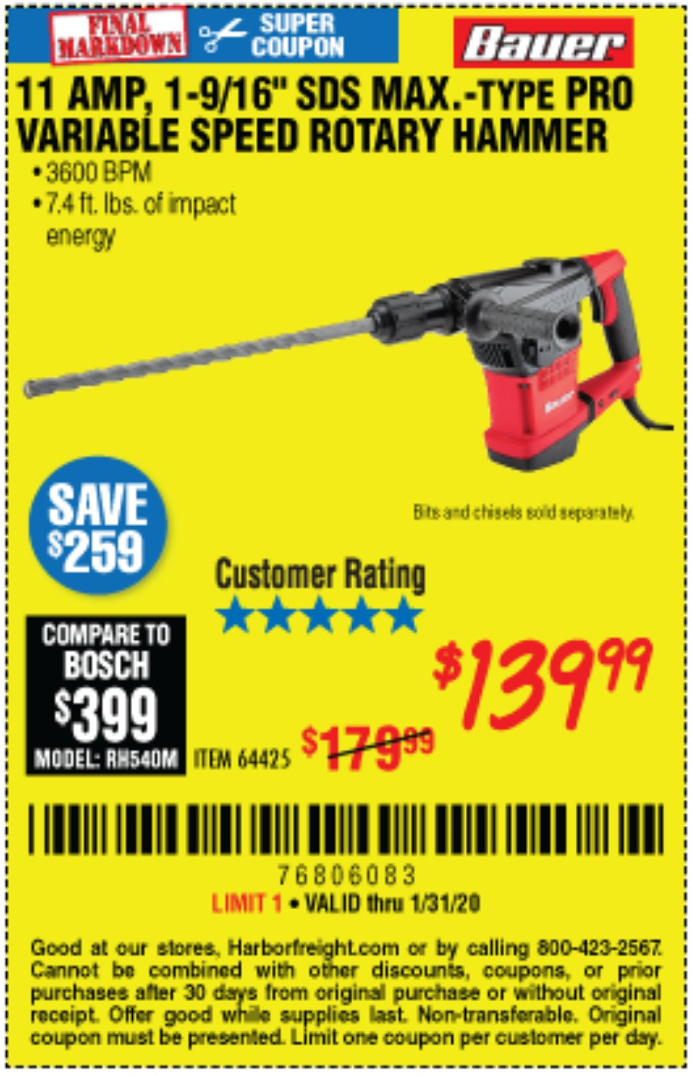 Harbor Freight Coupon, HF Coupons - 11 Amp, 1-9/16