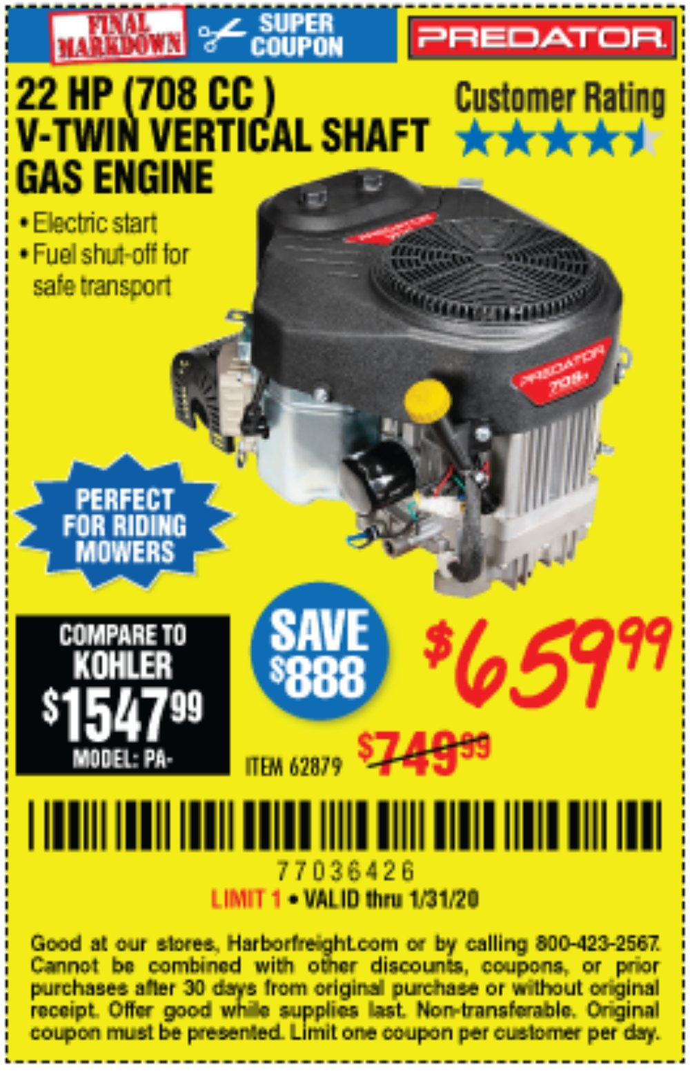Harbor Freight Coupon, HF Coupons - 22 Hp (708 Cc) V-twin Vertical Shaft Engine