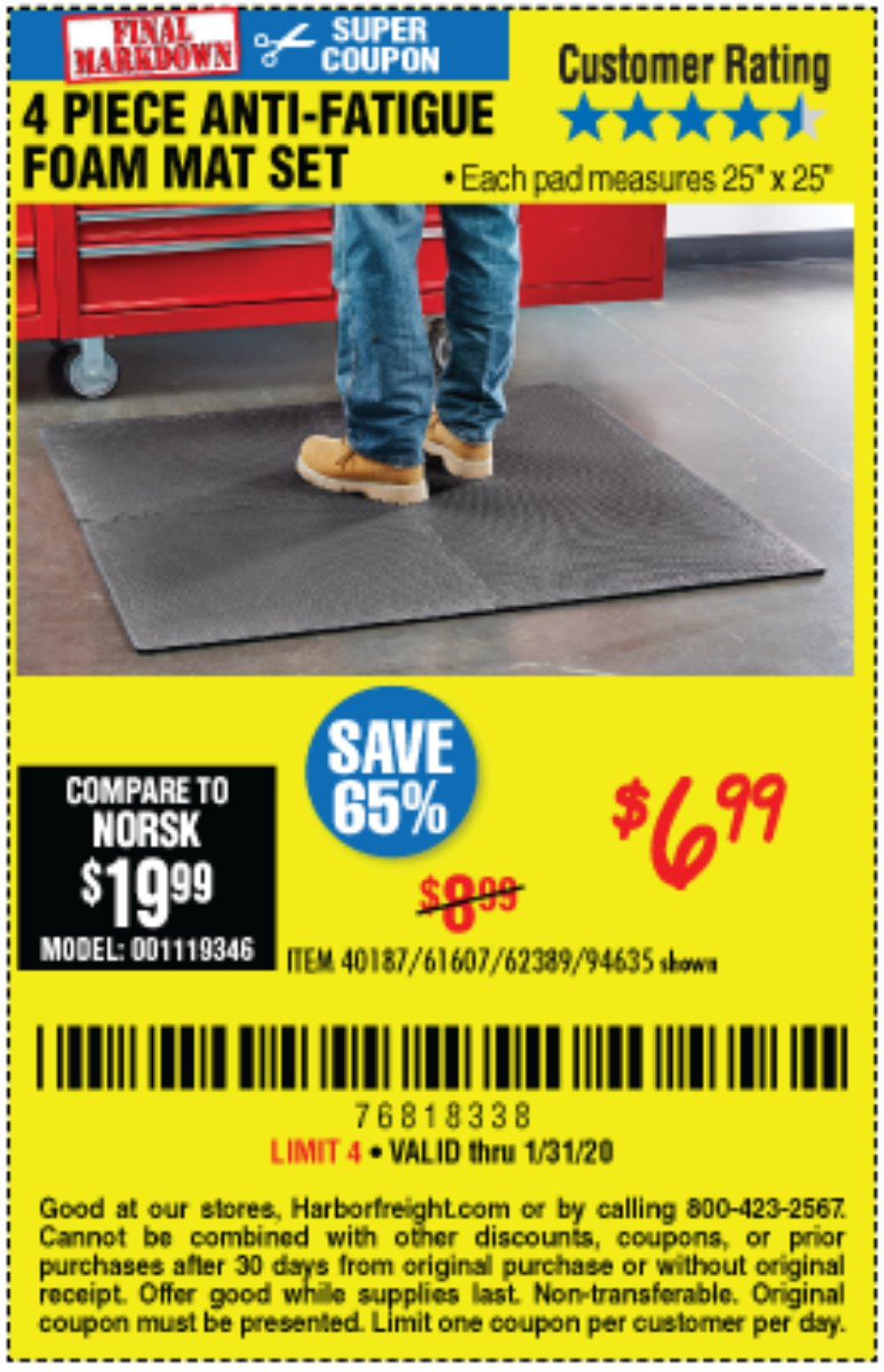 Harbor Freight Coupon, HF Coupons - 4 Piece Anti-fatigue Foam Mat Set
