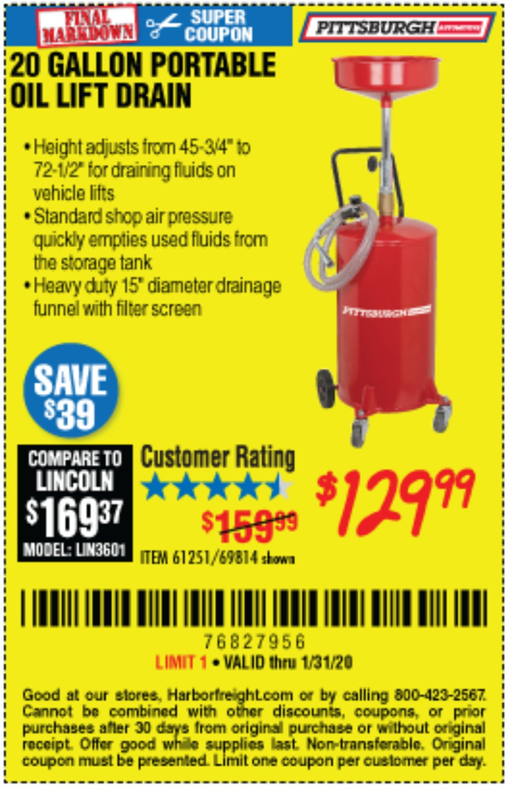 Harbor Freight Coupon, HF Coupons - 20 Gallon Portable Oil Lift Drain