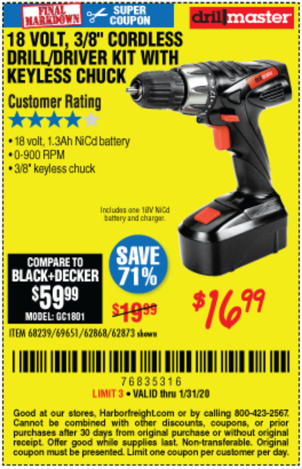 Harbor Freight Coupon, HF Coupons - 18 Volt Cordless 3/8