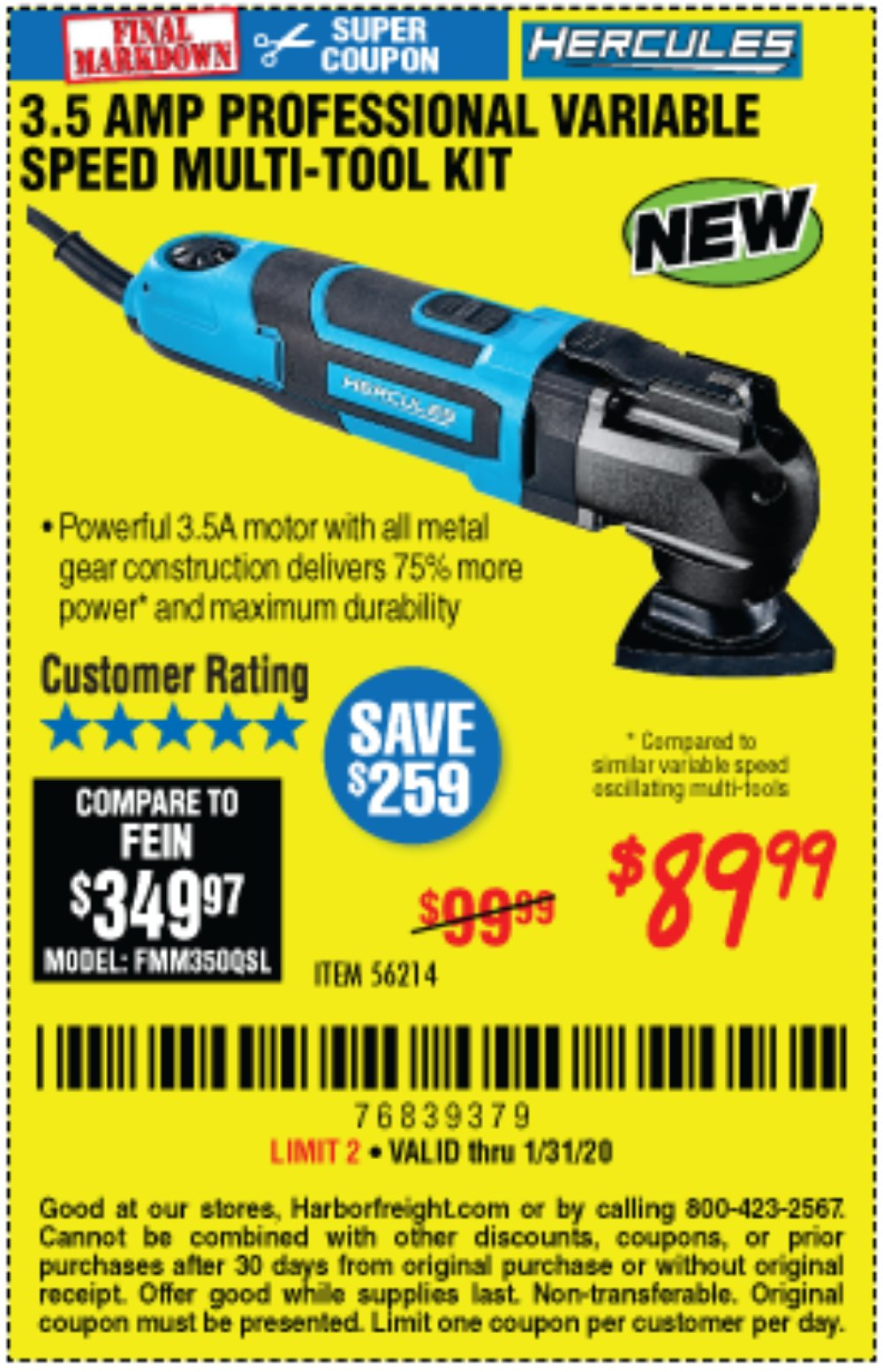 Harbor Freight Coupon, HF Coupons - 3.5 Amp Professional Variable Speed Multi-tool Kit