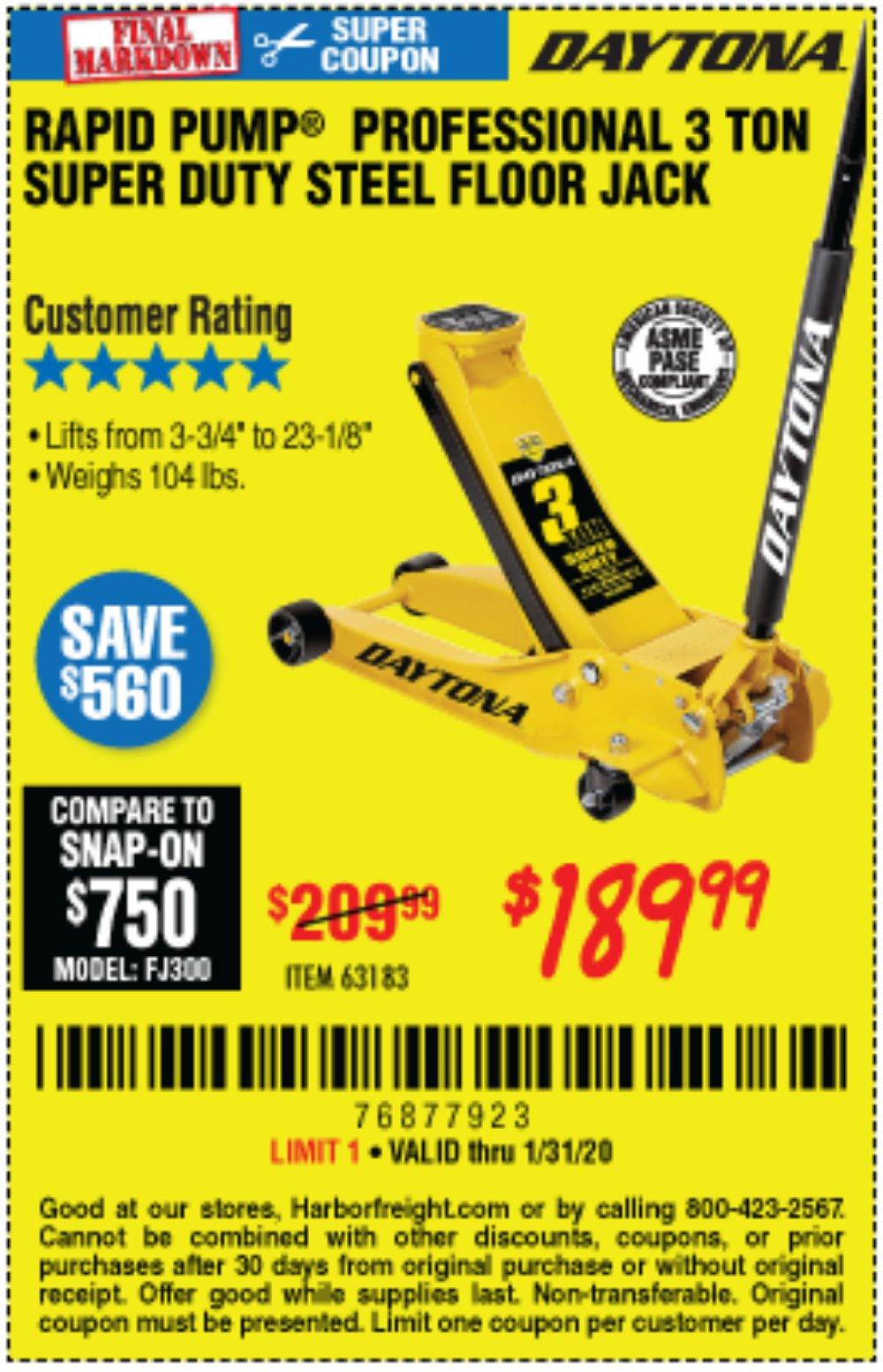 Harbor Freight Coupon, HF Coupons - 3 Ton Daytona Professional Steel Floor Jack - Super Duty