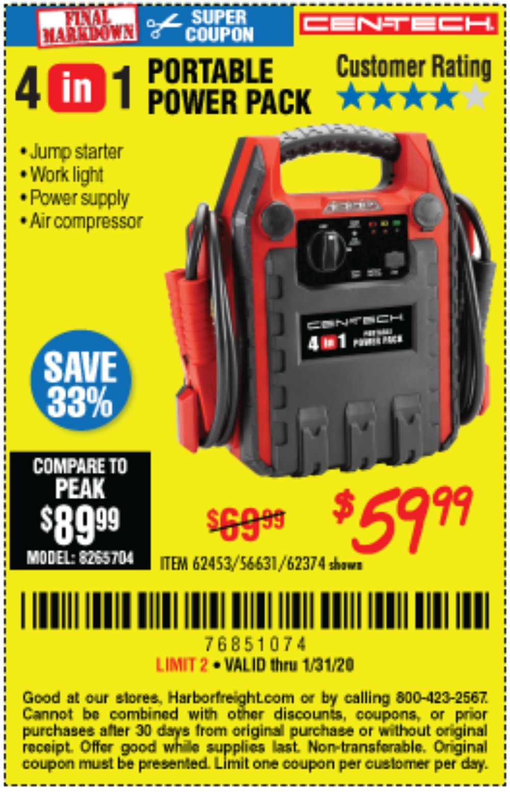 Harbor Freight Coupon, HF Coupons - 4 In 1 Portable Power Pack