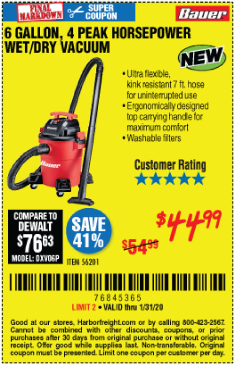 Harbor Freight Coupon, HF Coupons - Bauer 6 Gallon Wet Dry Vacuum