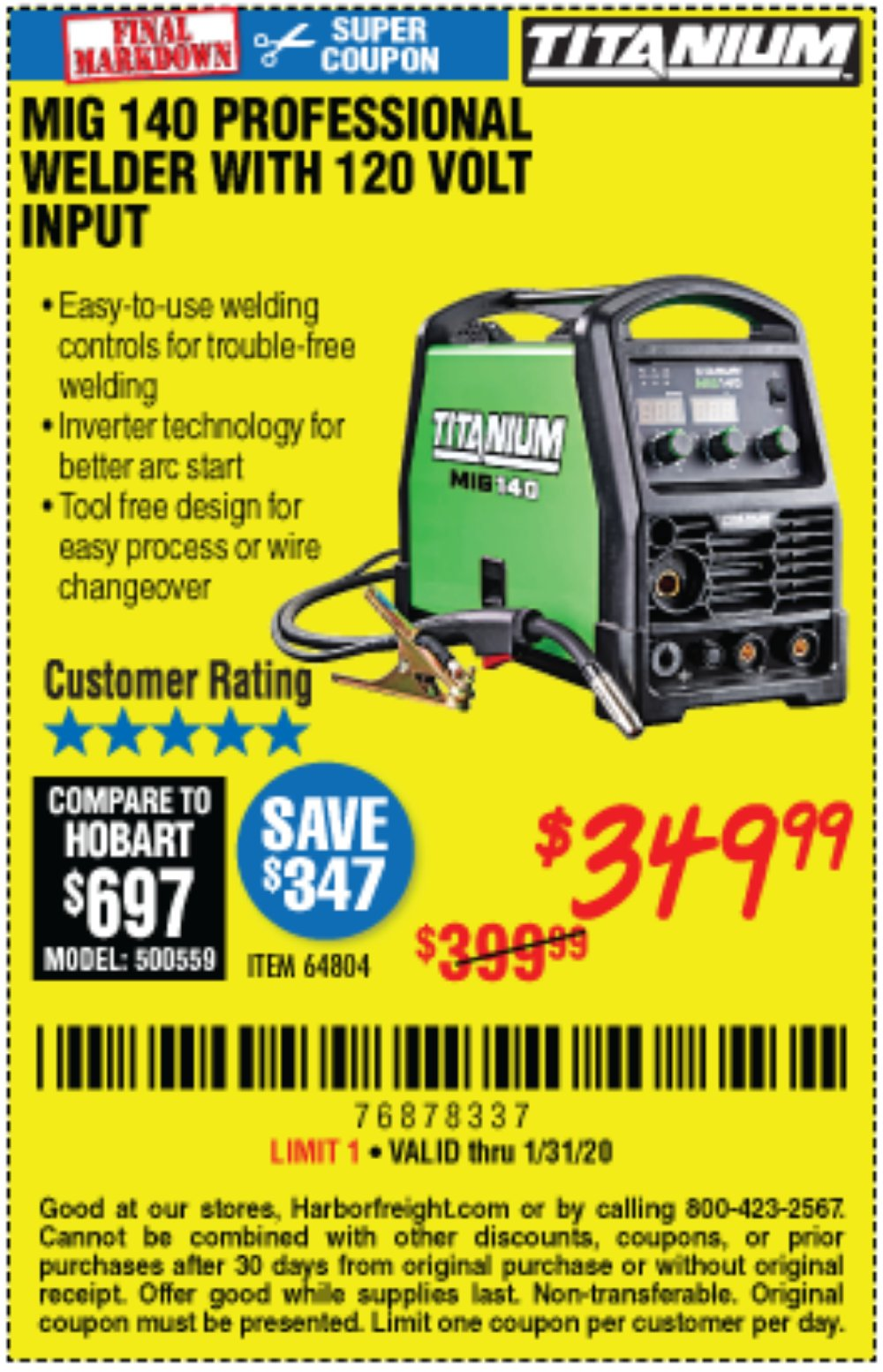 Harbor Freight Coupon, HF Coupons - Titanium Mig 140 Welder