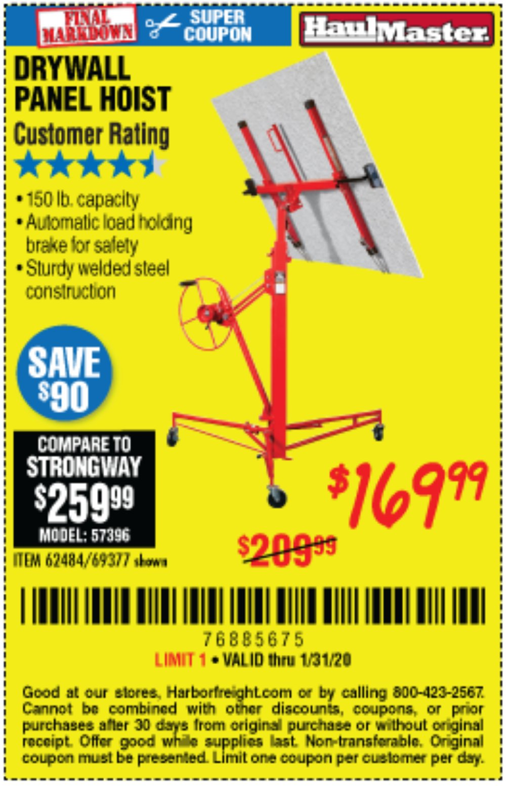 Harbor Freight Coupon, HF Coupons - 150 Lb. Capacity Drywall/panel Hoist
