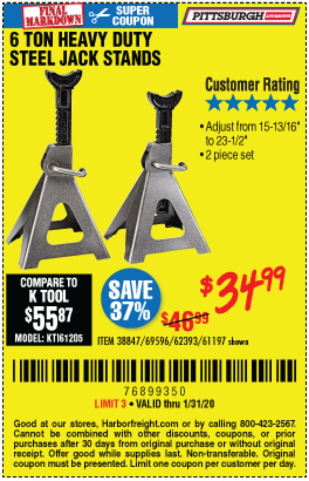 Harbor Freight Coupon, HF Coupons - 6 Ton Heavy Duty Steel Jack Stands