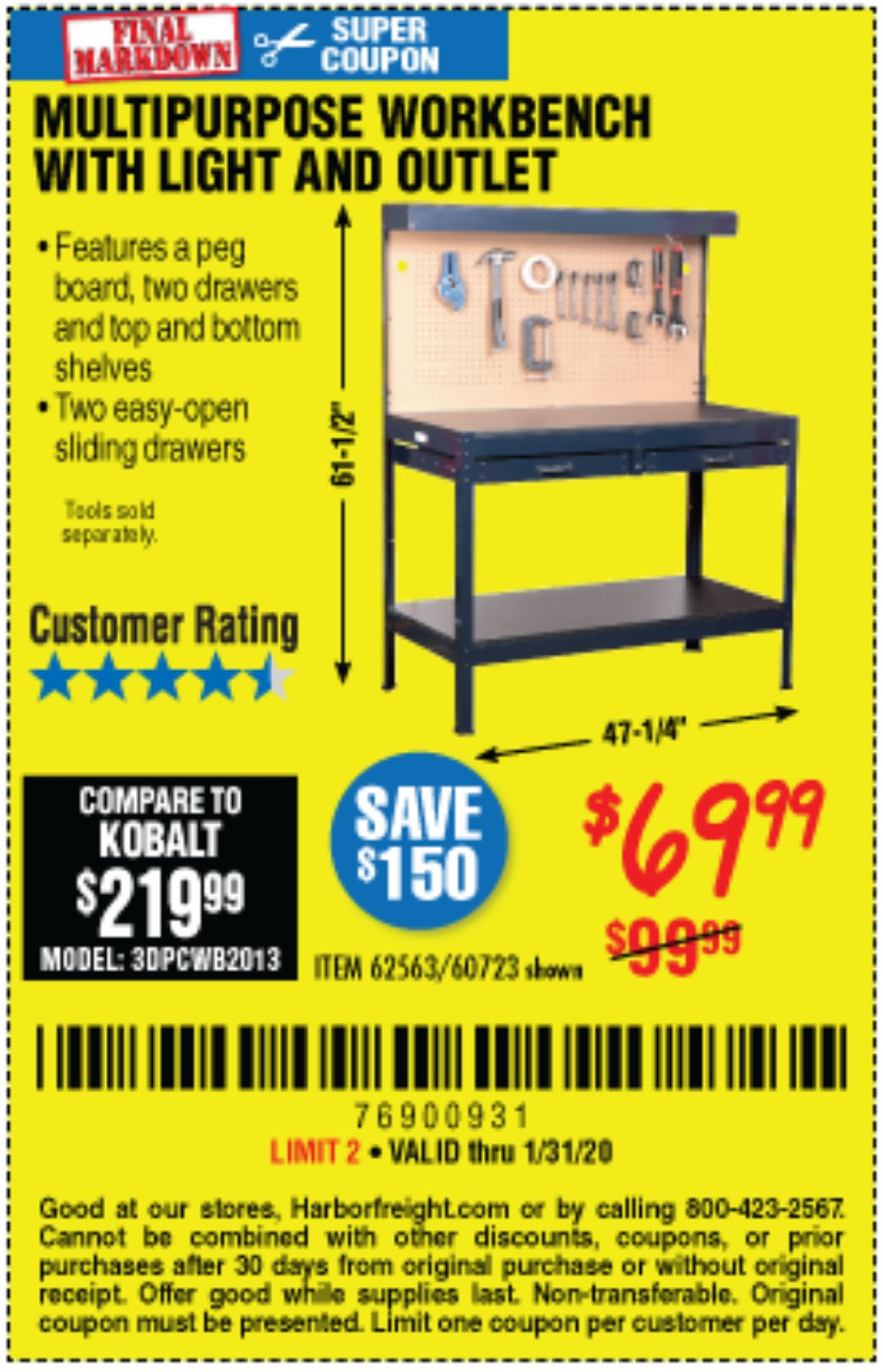 Harbor Freight Coupon, HF Coupons - Multipurpose Workbench With Lighting And Outlet
