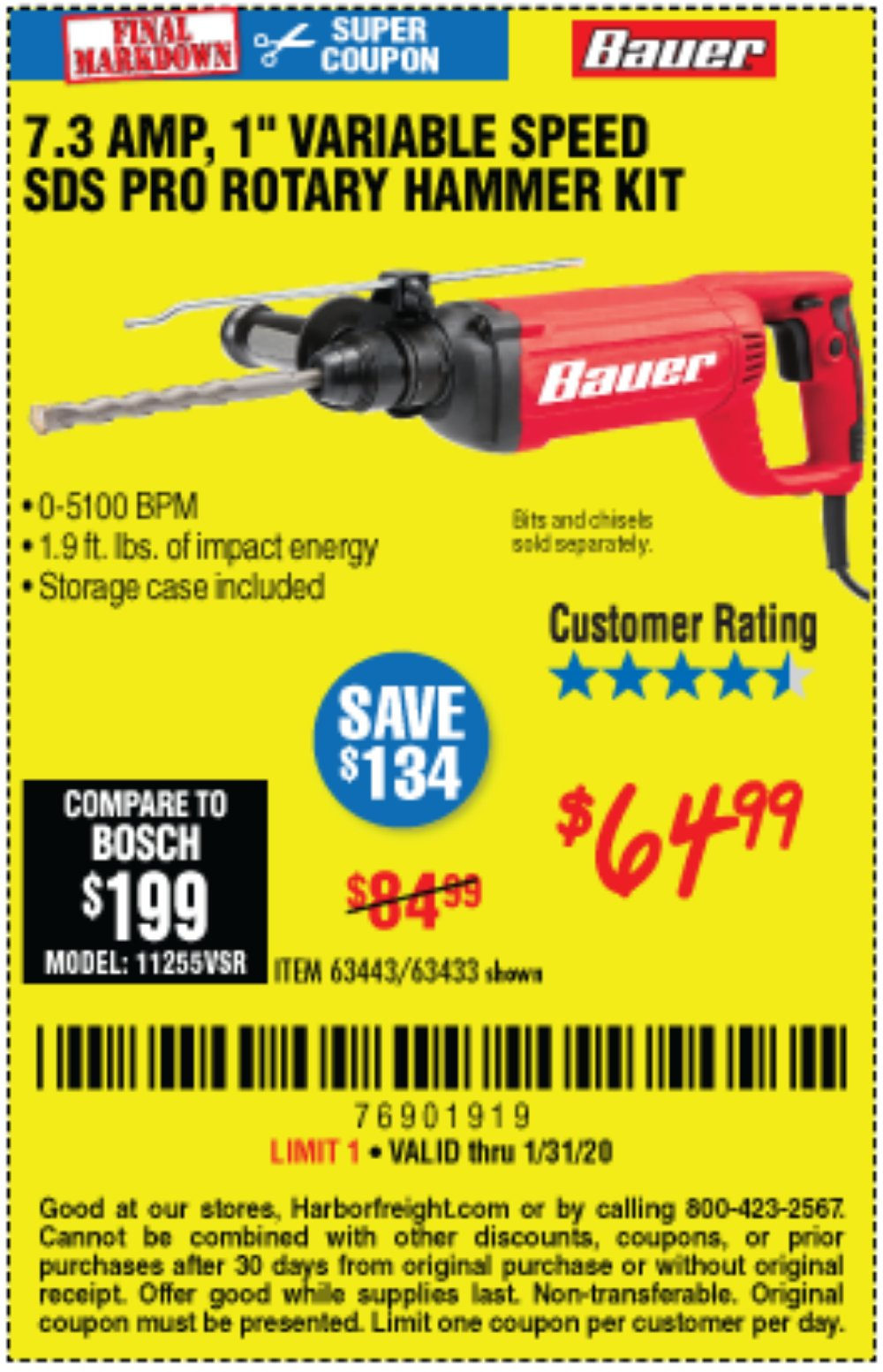 Harbor Freight Coupon, HF Coupons - 7.3 Amp, 1